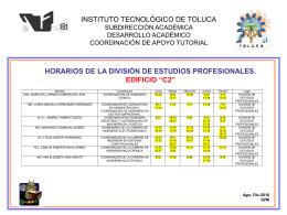 horario de atención de la división de estidios profesionales.