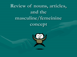 Review of nouns, aritcles, and the masculine/femeinine concept