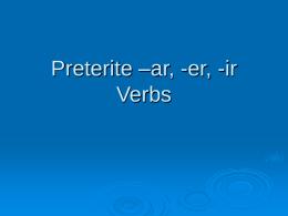 Preterite –ar Verbs - LCHS-Espanol-2