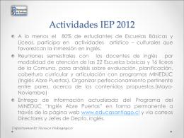 Actividades IEP 2012