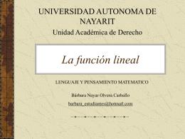 La función lineal como modelo matemático