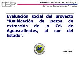 """Evaluación social del proyecto """"Reubicación de pozos de"""