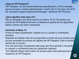 ¿Qué es HP Passport? - HP`s support agreement manager