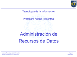 Clase 5 Administración de Recursos de Datos