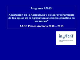 """Programa """"Adaptación de la Agricultura y del aprovechamiento de"""