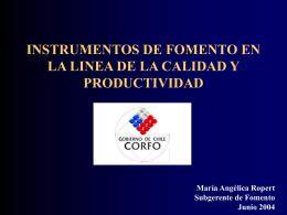 GERENCIA DE FOMENTO PRODCUTIVIDAD Y CALIDAD