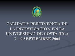 Investigación en la Universidad de Costa Rica