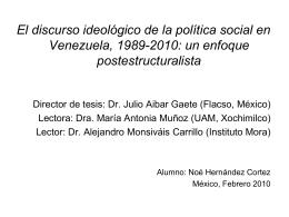 El discurso ideológico de la política social en Venezuela, 1989.2010