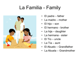 La Familia - Family - JBSSpanishEnrichment