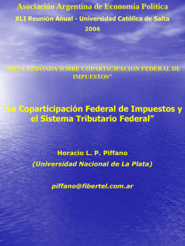 La coparticipación de impuestos y el sistema tributario federal.