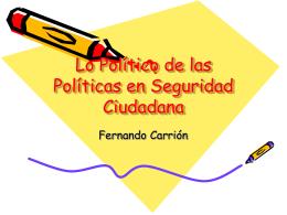 Lo Político de las Políticas en Seguridad Ciudadana