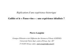 Galilée et le « Passe-vins » : une expérience idéalisée ? La