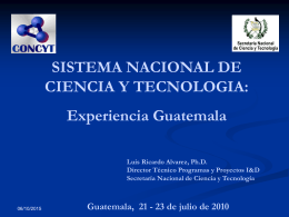 SINCYT GUATEMALA. Dr. Alvarez
