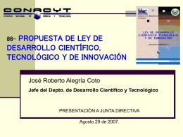 Plan Nacional de Desarrollo Científico y Tecnológico e Innovación