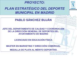 proyecto de un plan estratégico del deporte en madrid.