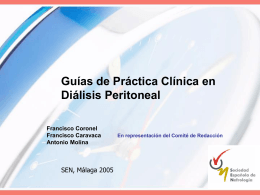 Guías de Práctica Clínica en Diálisis Peritoneal Francisco Coronel