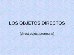 LOS OBJETOS DIRECTOS - Spanish