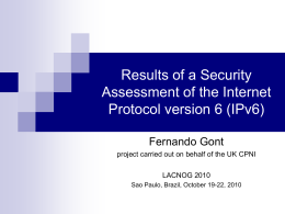 Security Assessment of the Internet Protocol version