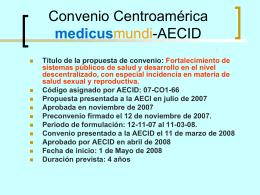 Convenio Centroamérica medicusmundi-AECI