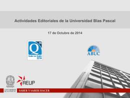 Actividades editoriales de la UBP
