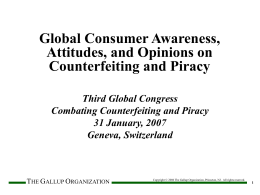 Global Consumer Awareness, Attitudes, and
