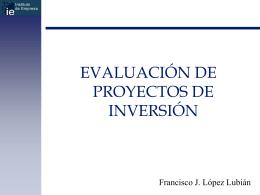 evalución de proyectos de inversión.