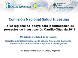 + material disponible - Comisión Nacional Salud Investiga