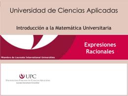 Expresiones Racionales - Universidad Peruana de Ciencias