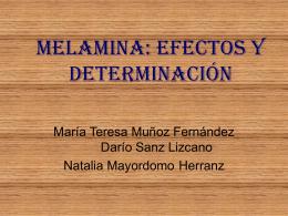 MELAMINA: efectos y determinación