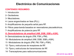8- Demoduladores de amplitud (AM, DSB, SSB y ASK).