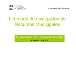 I Jornada de divulgación de Recursos Municipales