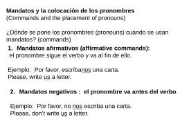 Mandatos y la colocación de los pronombres - LexSpanish1-2
