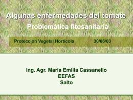 Algunas enfermedades del tomate Ing. Agr. María Emilia Cassanello