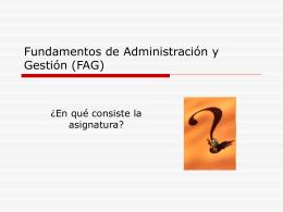 Fundamentos de Administración y Gestión (FAG)