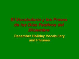 El Vocabulario y las Frases de los Días Festivos del Diciembre