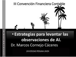 Marco Cornejo:Estrategias para levantar las