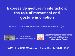 Expressive gesture in interaction - AAAC emotion
