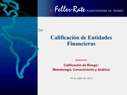 Calificación de Entidades Financieras