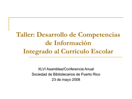 Taller: Desarrollo de Competencias de Información - SB-DI-2008