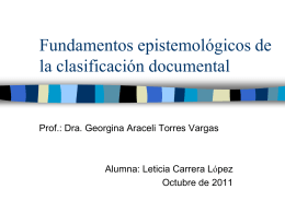 Fundamentos epistemológicos de la clasificación documental