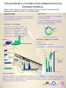 utilización de la vía subcutánea permanente en el enfermo terminal