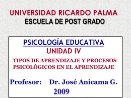 Unidad IV - TIPOS DE APRENDIZAJE 2009