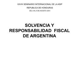 Solvencia y responsabilidad fiscal de Argentina
