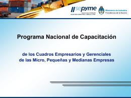 Programa Nacional de Capacitación 2010.