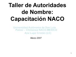Taller de Autoridades de Nombre: Capacitación NACO
