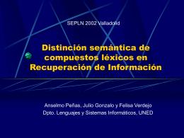 Distinción semántica de compuestos léxicos en Recuperación de