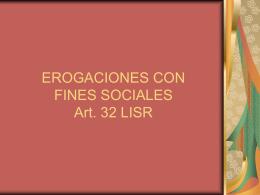 EROGACIONES CON FINES SOCIALES