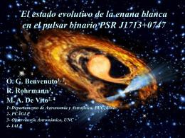 El estado evolutivo de la enana blanca en el pulsar binario PSR