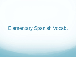 Elementary Spanish Vocab.