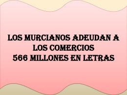 Los murcianos adeudan a los comercios 566 millones en letras.